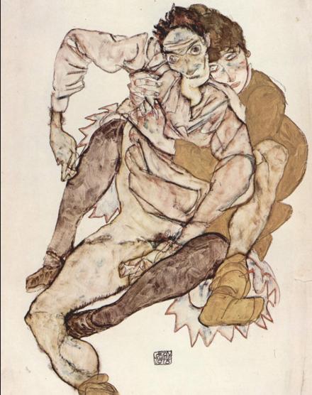 """""""El abrazo"""", obra del pintor Egon Schiele, expresa su forma particular de interpretar la realidad."""